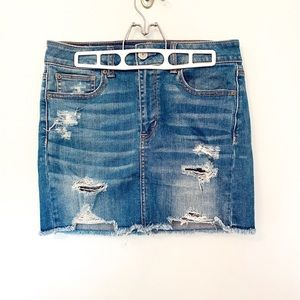 American Eagle Ripped Denim Mini Skirt